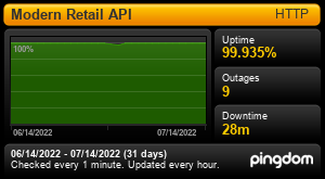 Uptime Report for Modern Retail - API: Last 30 days