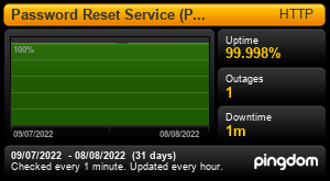 Uptime Report for Password Reset Service (PRS): Last 30 days