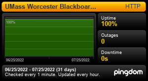 Uptime Report for UMass Worcester Blackboard Learn: Last 30 days