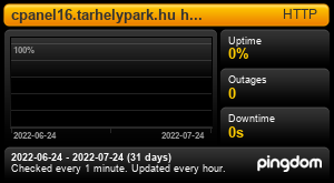 Uptime Report for cpanel16.tarhelypark.hu http: Last 30 days