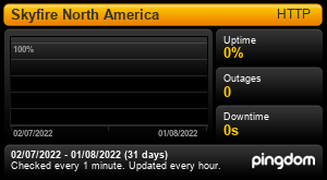 Uptime Report for Skyfire North America: Last 30 days