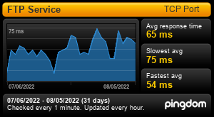Uptime Report for FTP Service: Last 30 days